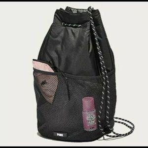 Victoria's Secret Pink Black Drawstring Bag